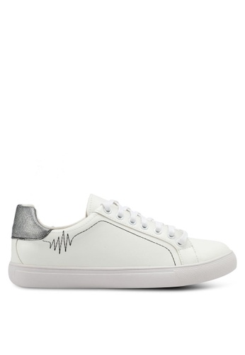 Something Borrowed white Doodle Lace Up Sneakers E4DC5SHDB482D5GS_1