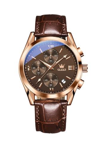 OLEVS brown Olevs Grand Lumino Men Chronograph Wrist Watch 5FE15ACAFCC089GS_1