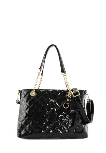 SEMBONIA black SEMBONIA Synthetic Leather Tote Bag 03273AC9B9EBBCGS_1