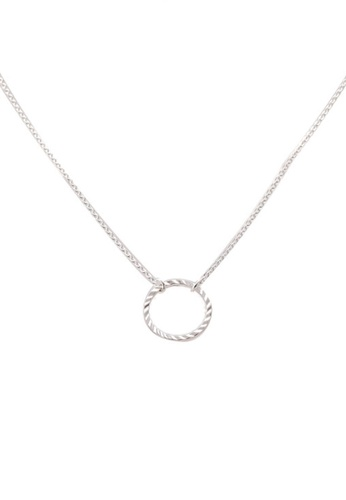 Orelia London silver Circle Cut Out Ditsy Necklace OR747AC0SC2HMY_1