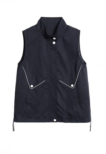 Twenty Eight Shoes black VANSA Stand-up Collar Vest Jacket  VCW-V1472 3387FAA8C34395GS_1