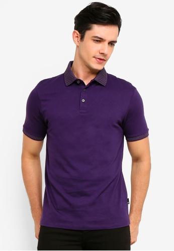 Burton Menswear London 紫色 Purple Reign Jacquard Collar Polo Shirt 6574AAAF672725GS_1