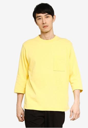 GLOBAL WORK yellow 3/4 Sleeves T-Shirt C73D9AA62491CEGS_1