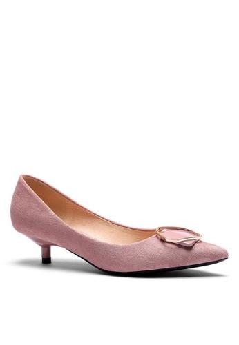 Twenty Eight Shoes 3.5CM尖頭扣飾絨面高踭鞋296-48 BBC49SH799D756GS_1