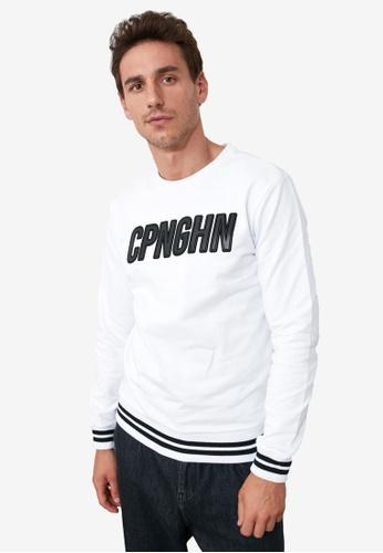 Trendyol white Slogan Crew Neck Sweatshirt AEF68AA452069FGS_1