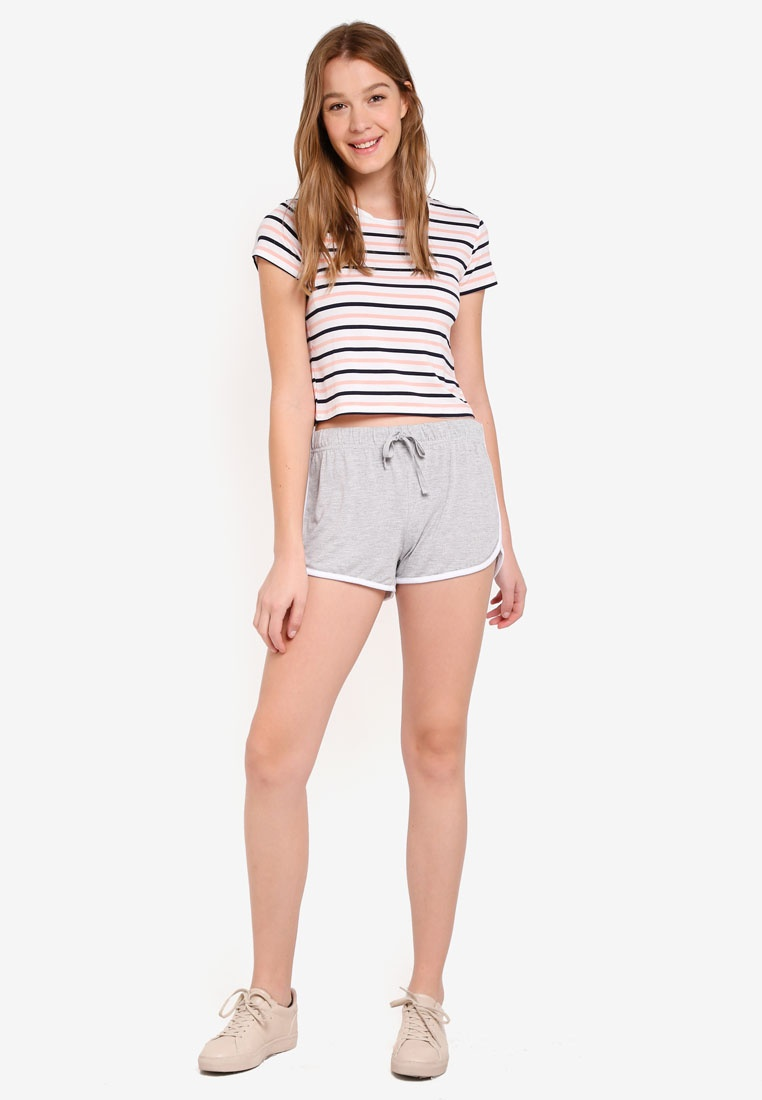 Shorts Grey On Bind Contrast Cotton Marle Retro SwIpBSq