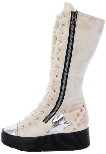 Maxstar 568 Synthetic Leather inside fur Studed Black Platform Half-Long Boots US Women Size MA168SH98DWNHK_1