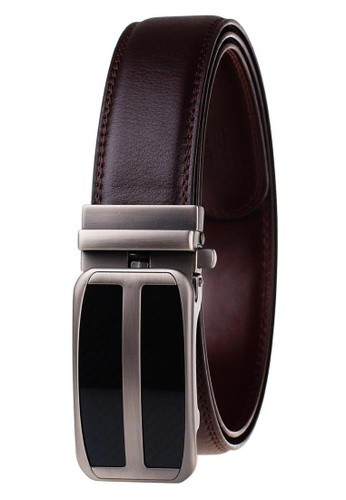 FANYU brown Leather Dress Belt With Automatic Buckle belt 76091AC1BC495EGS_1