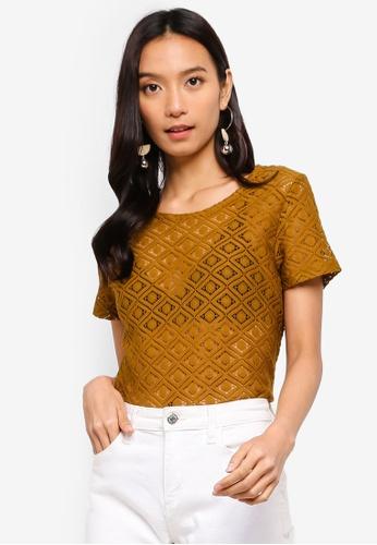 JACQUELINE DE YONG brown Lace Short Sleeve Top 68B9AAA445E030GS_1