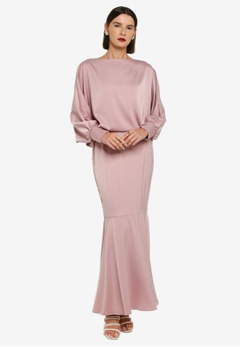 Zalia pink Bishop Cuffed Sleeves Top With Skirt Set 6A0D3AAAF4AD8FGS_1
