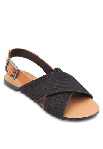 交叉寬esprit 衣服帶平底涼鞋, 女鞋, 鞋