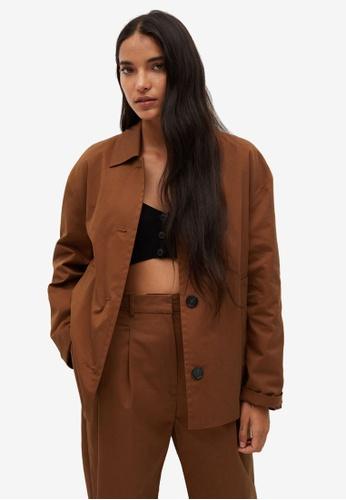 Mango brown Oversized Cotton Jacket FC859AA6205179GS_1