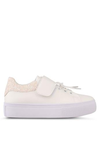 Something Borrowed white Velcro Lace Platform Sneakers F1357SHCD12DFFGS_1