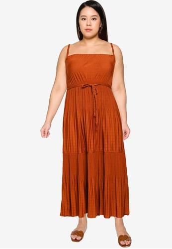 Violeta by MANGO brown Plus Size Waist Tie Dress 8641AAABB7B759GS_1