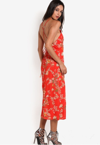 TOPSHOP red Eastern Square Neck Midi Dress TO412AA37UXAMY_1