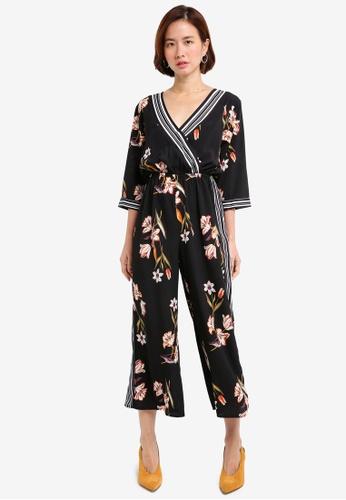 ZALORA black Wrap Jumpsuit With Stripes E6F49AAFE57781GS_1