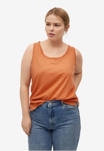 Violeta by MANGO orange Plus Size Cotton Organic Top 63981AA2530888GS_1