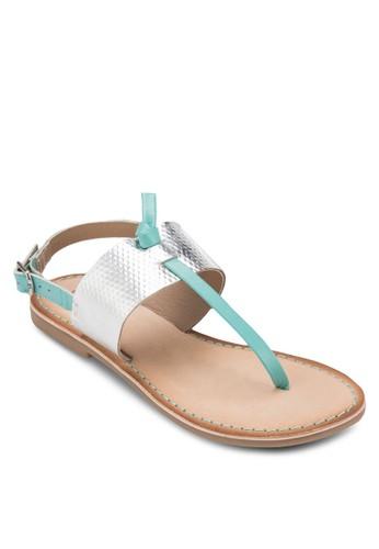 Vieux esprit 中文撞色寬帶夾趾涼鞋, 女鞋, 鞋