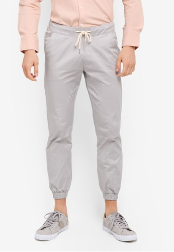 ZALORA grey Washed Cotton Woven Jogger B3EF8AAEC01290GS_1