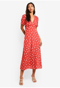 14c69598305020 Forever New red Wendy Ditsy Midi Dress 03268AAF98A491GS 1