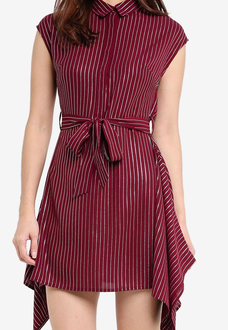 Down Button Borrowed Silver Dress Hem Detail Maroon Stripes Something qF6w5