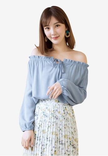 Tokichoi blue Ribboned Off Shoulder Blouse BAF63AA8546E09GS_1