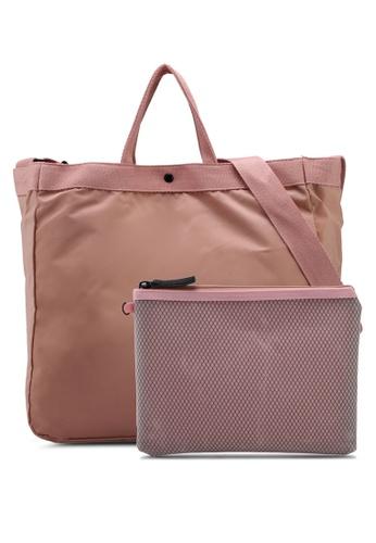 NUVEAU pink Nylon 2-Way Usage Top Handle Bag 3A524ACB4E293FGS_1