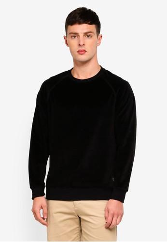 Only & Sons black Travis Velvet Crew Sweatshirt 47E2BAA3692CDEGS_1