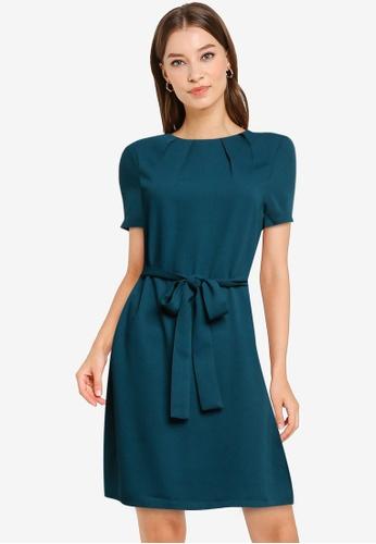 ZALORA WORK green Pleated Neck Dress with Self Tie 9B4F5AA0EDD4BEGS_1