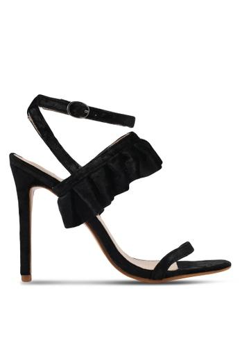 Public Desire black Lion Frill Detail Strappy Heels PU378SH0SIPXMY_1
