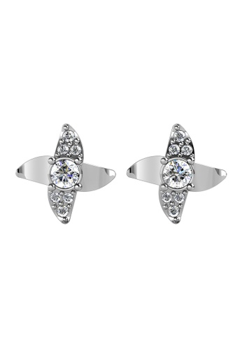 Her Jewellery silver Zayna Earrings (White Gold) - Made with Premium grade crystals from Austria F6196AC91EC009GS_1