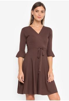 d2934e3e05e5 LA VIDA MODA brown Bella Mock Wrap Dress 089C0AABEFE567GS 1