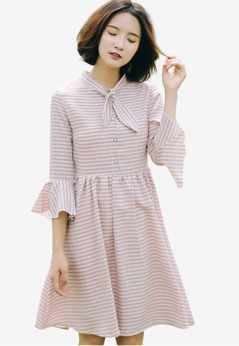Shopsfashion pink Checked Full Sleeve Dress 54643AA830EE00GS_1