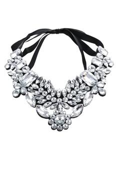 【ZALORA】 Clear Glass Ribbon Tie Statement Necklace