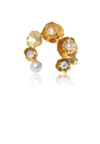 Glamorousky white Fashion and Elegant Plated Gold Flower Imitation Pearl Brooch with Cubic Zirconia BA5E4AC469D17CGS_1