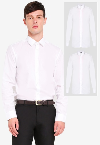 Burton Menswear London 白色 2 Pack White Tailored Fit Easy Iron Shirts D03A9AACC94201GS_1