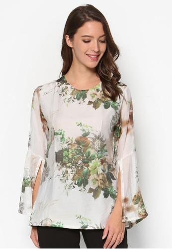 花卉圖案喇叭長袖上衣, 服飾zalora 包包評價, 上衣