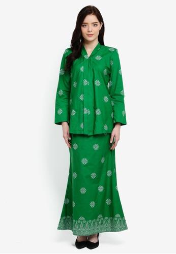 Cotton Tradisional Kebaya With Songket Print (Tabur) from Kasih in Green and Silver