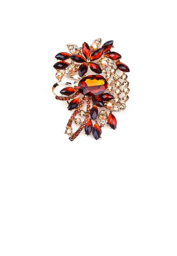Glamorousky yellow Fashion Bright Geometric Pattern Brooch with Yellow Cubic Zirconia DC3DCACC210899GS_1