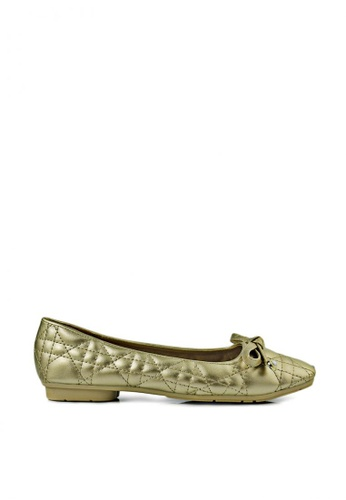 SHINE gold Metallic Square Toe Ballet Flats BE548SH2597EEBGS_1