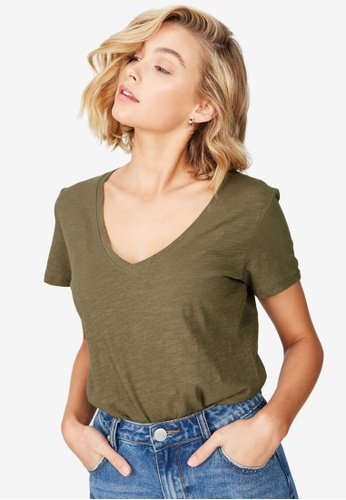 Cotton On green The Deep V T-Shirt 2CF22AAF70D000GS_1