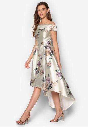 Aliana esprit 中文前短後長露肩印花洋裝, 服飾, 洋裝