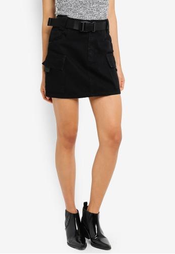 TOPSHOP 黑色 Clip Belted Denim Skirt 6A269AA9DCC800GS_1