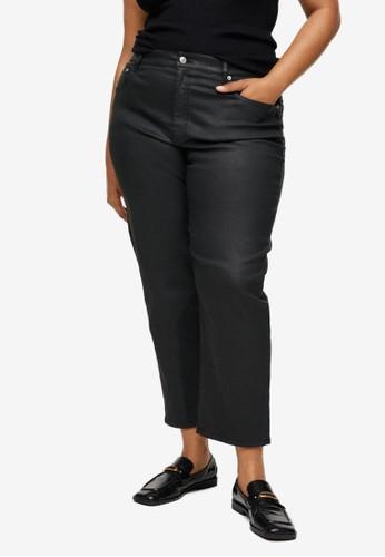 Violeta by MANGO black Plus Size Ankle-Length Straight-Fit Jeans F7C8FAACFCC1D0GS_1