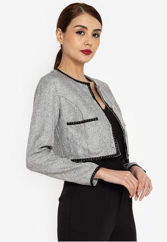 ZALORA WORK grey Tweed Jacket 9BA4AAA345D360GS_1