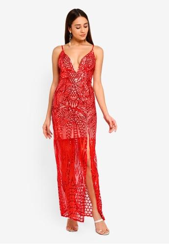 INDIKAH red Plunge V Neck Sequin Maxi Dress 799CFAA326676EGS_1