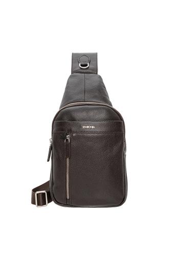SEMBONIA brown SEMBONIA Men Leather Crossbody Bag (Brown) SE598AC0S84TMY_1