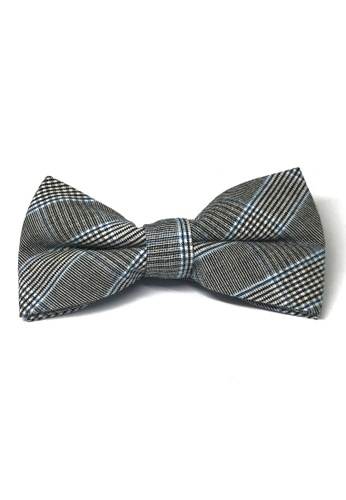 Splice Cufflinks black Folks Series Blue Tartan Design Dark Grey Cotton Pre-Tied Bow Tie SP744AC54TYVSG_1