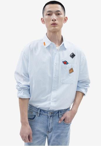 Urban Revivo 藍色 休閒 印花襯衫 11835AA56C713BGS_1