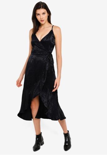 Abercrombie & Fitch black Cami Satin Wrap Ruffle Hem Dress E7979AA44D7AABGS_1
